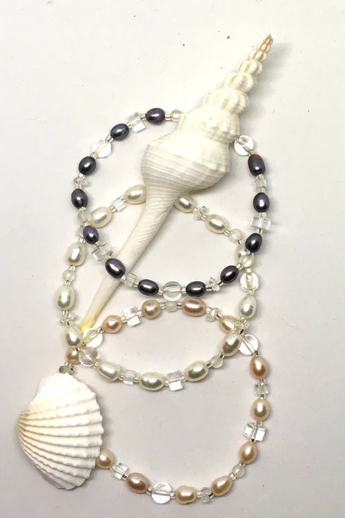 Pearl and Crystal Glass Bead Bracelet in Three colours