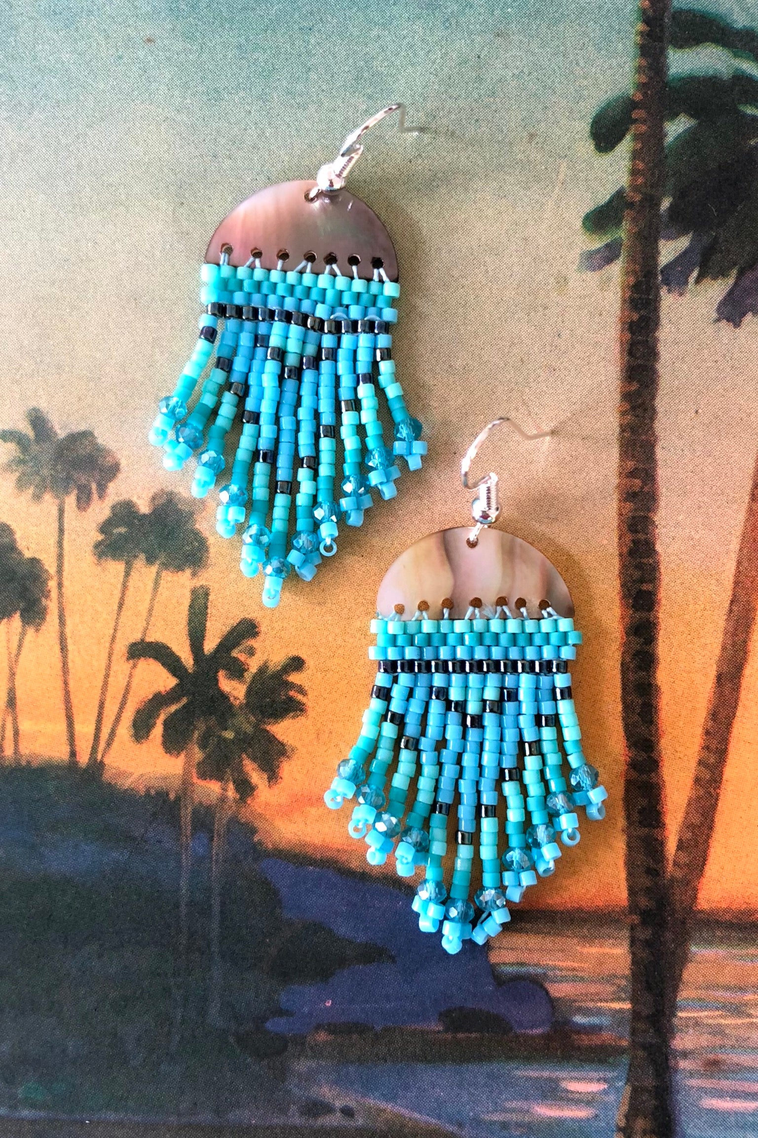 Earrings Rising Moon turquoise and mint, seed bead and shell earrings, boho hippie style, boho australia earrings