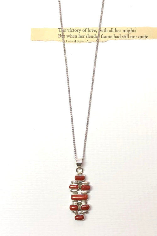 Echo Red Coral and Silver Vintage Pendant Bricks