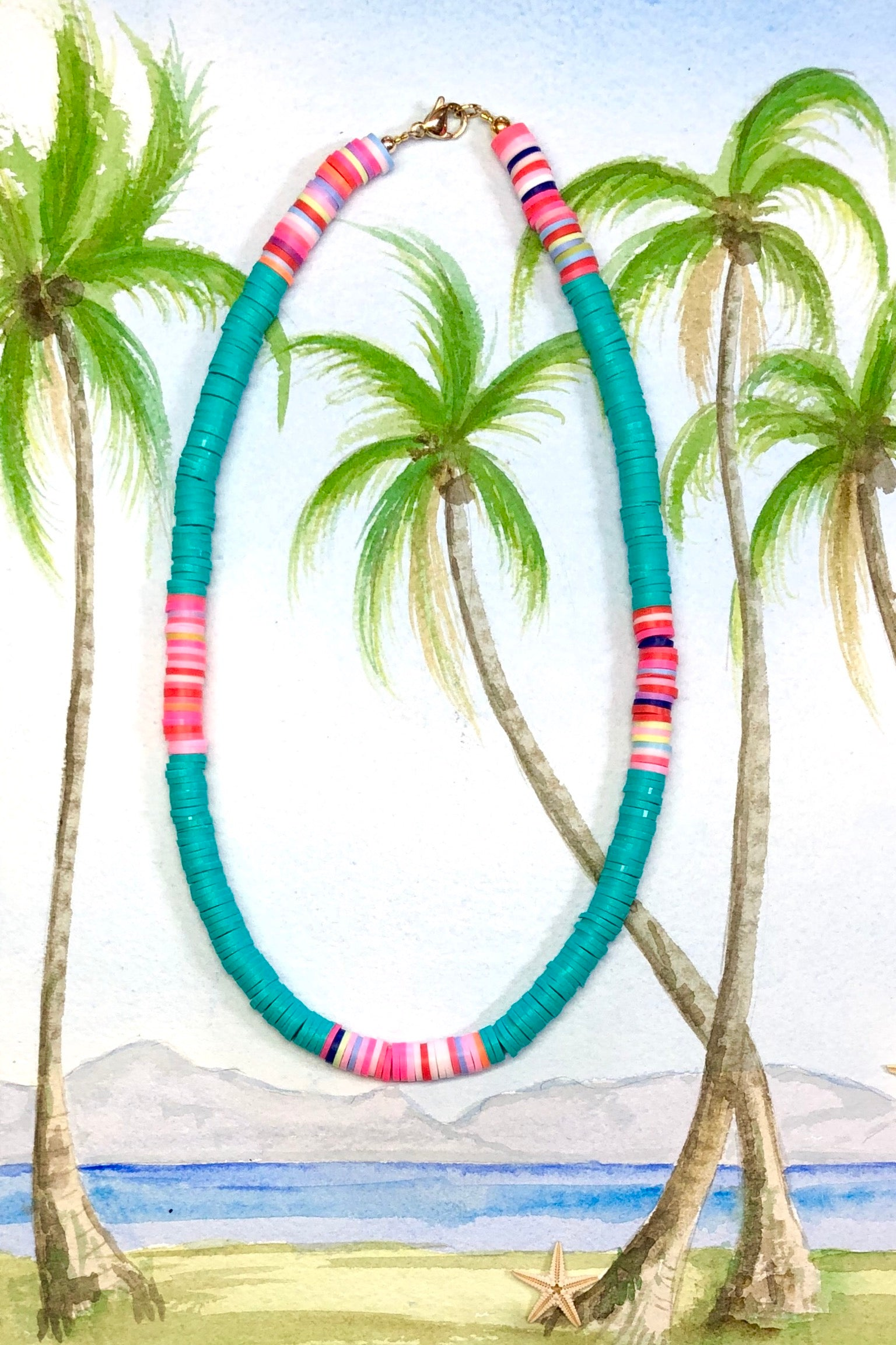 A little bit of summer island magic in our Necklace Summer Turquoise, with Heishi style beads in the brightest beach colours,