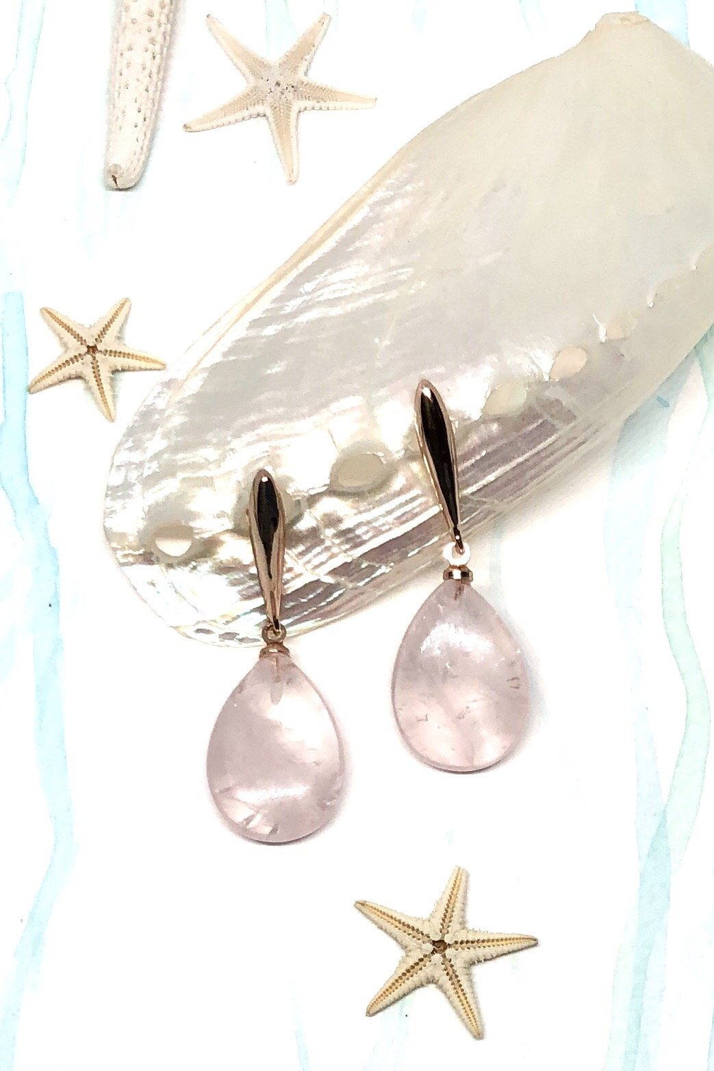 Rose Quartz Drop style earrings, rose gold hardware.