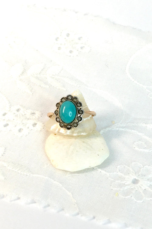 Vintage Ring with Turquoise and Old Pearl Halo