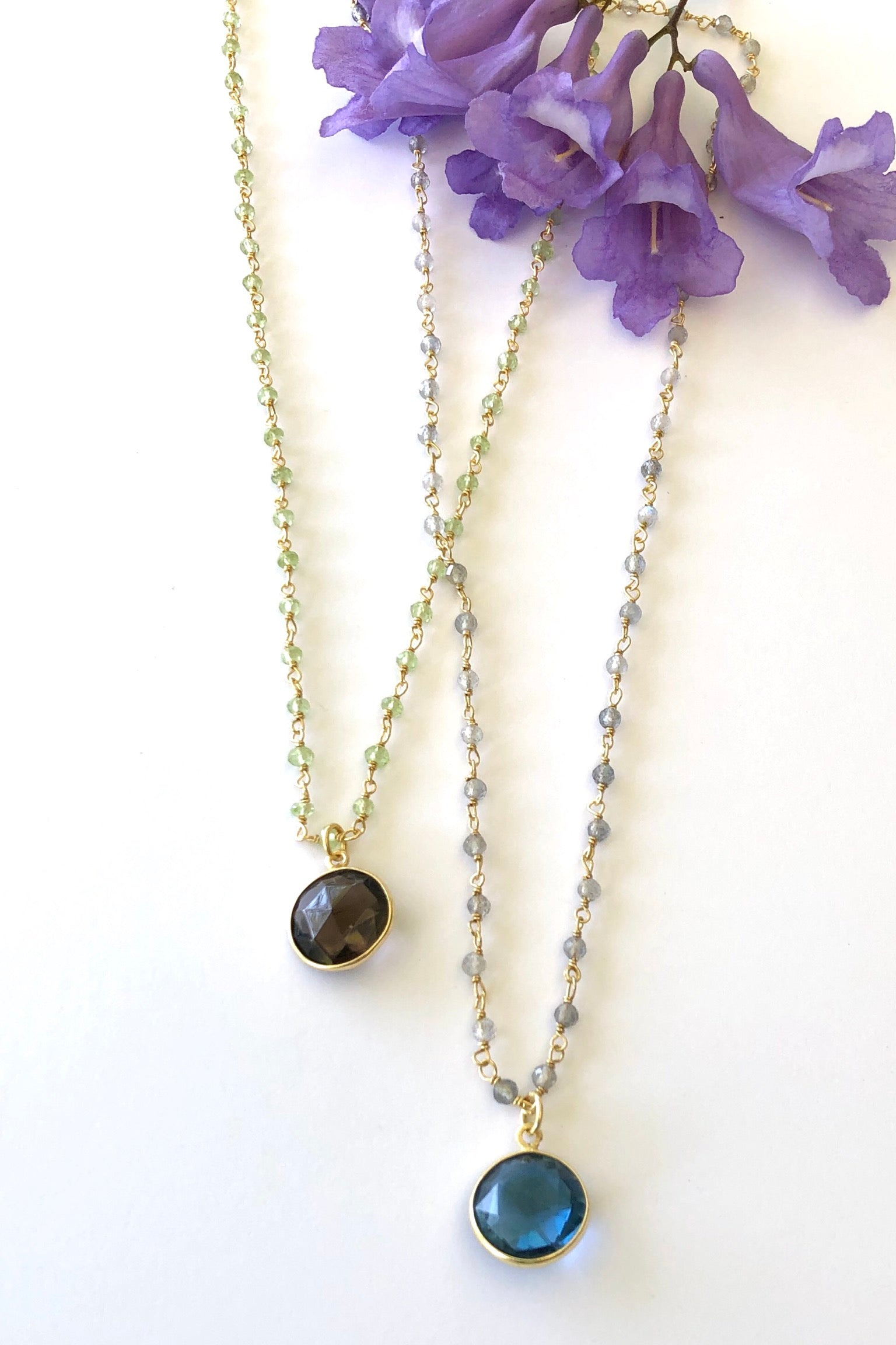 Oracle Venezia Necklace Round, Vintage bohemian inspired necklace features 50cm length Gold vermeil and fine clear beaded chain, a circular stone pendant set in gold vermeil choosing from Blue Quartz or Smokey Quartz.
