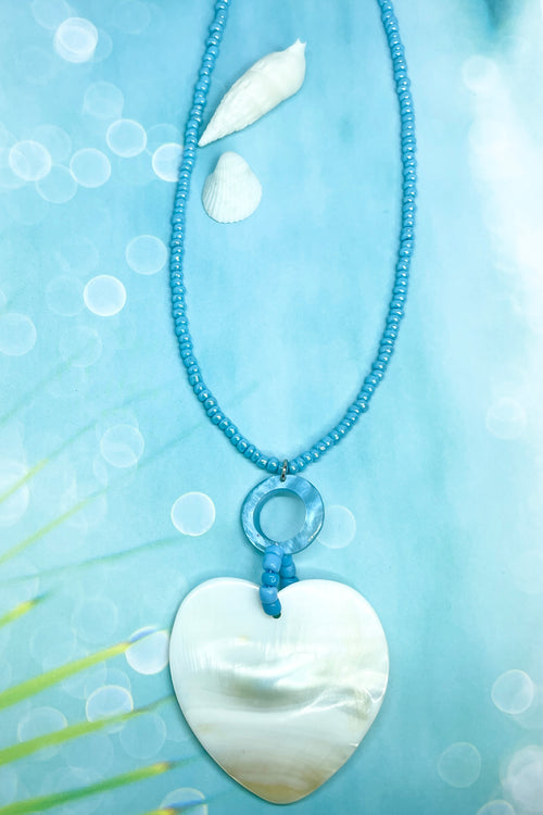 Necklace Shell Island Heart in Blue