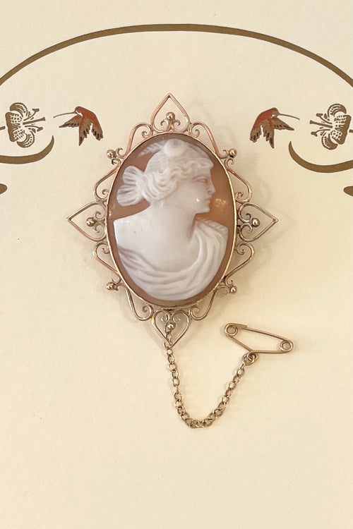 Antique Cameo Brooch with Fancy Frame