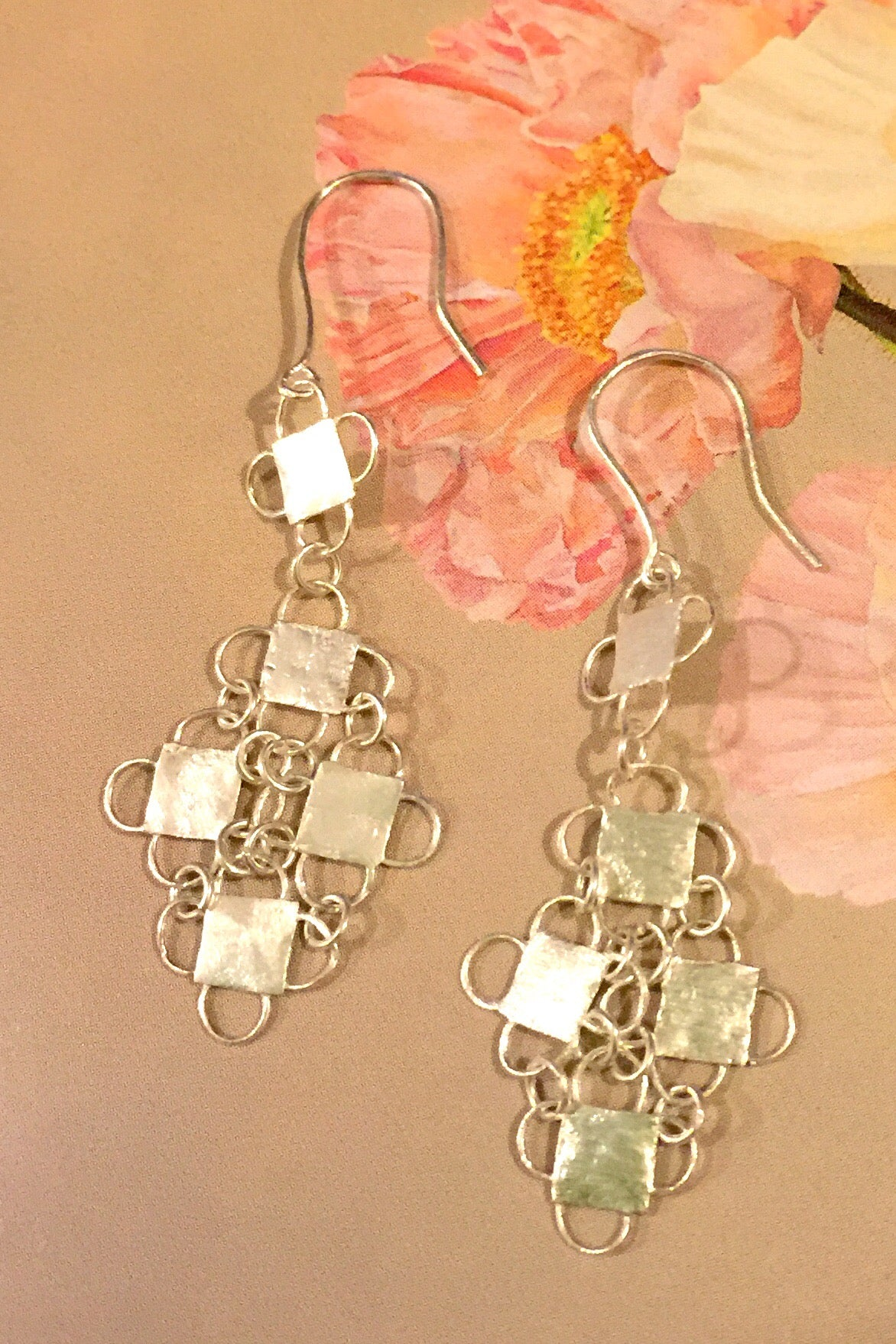 Silver Earrings in Chainmaille