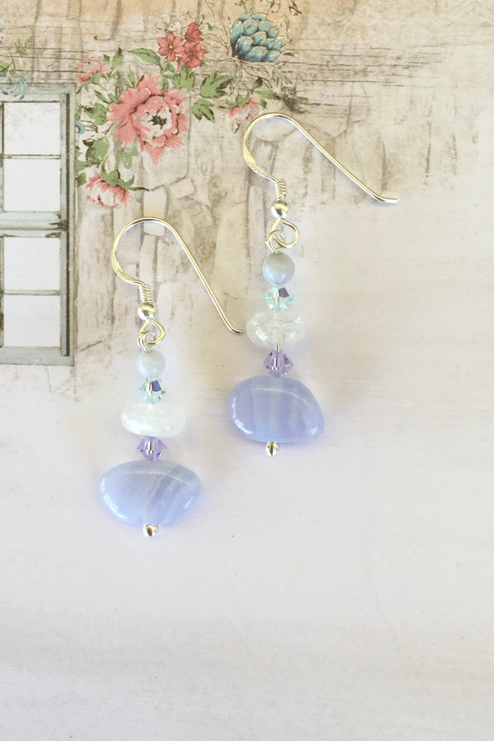 These little Gemdrop earrings are handmade exclusively for us. A perfect combination of natural coloured stones and crystals
