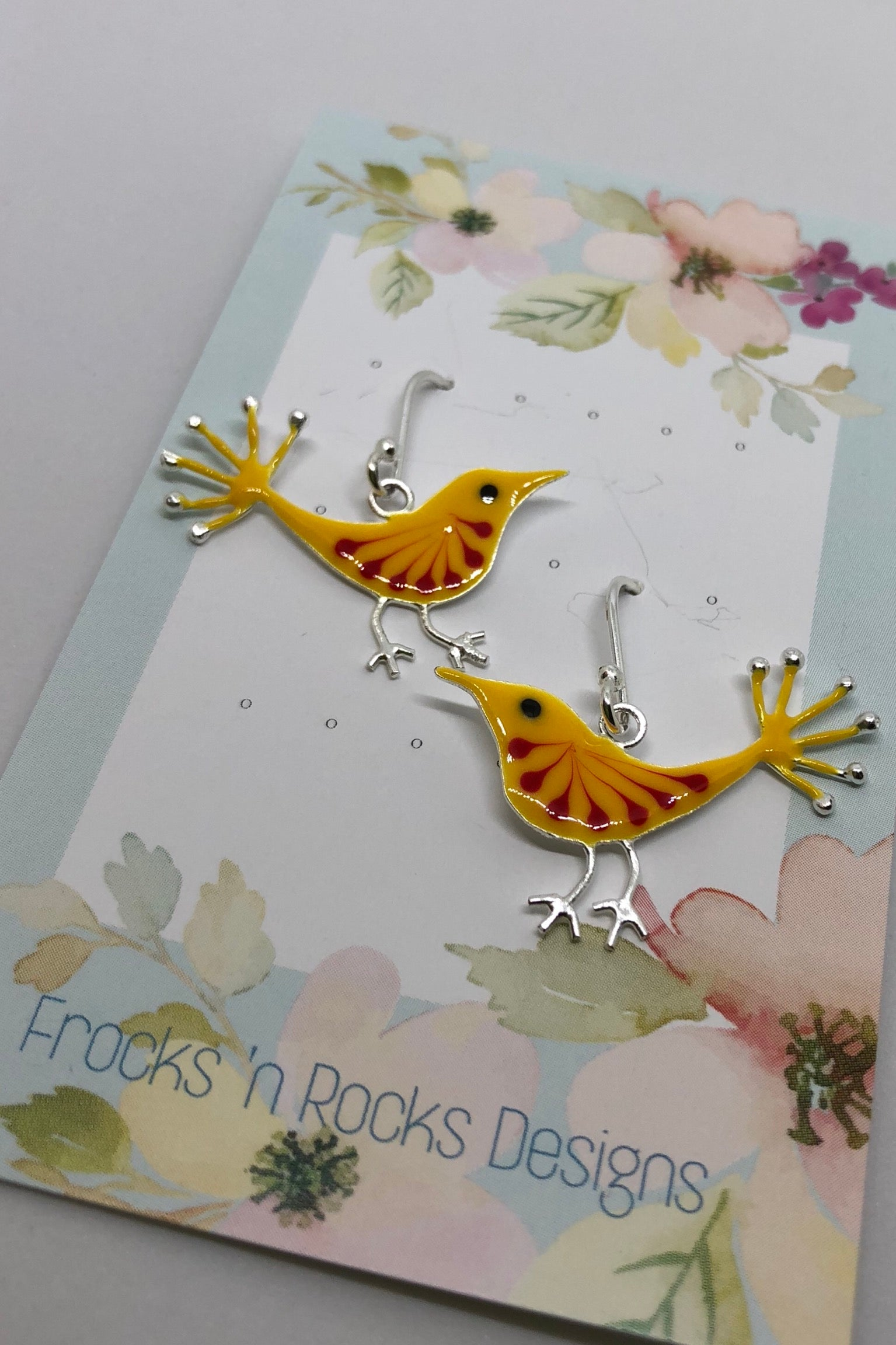 Silver Earring Yellow Bird of Happiness, 925 silver bird earring,