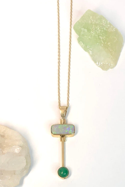 Vintage Pendant Australian Opal and Chrysophrase in Gold