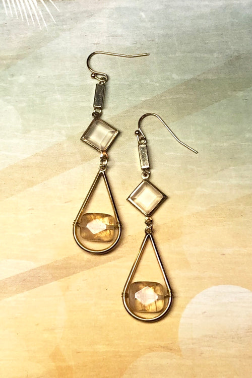 Earrings Meta Citrine Moondrop
