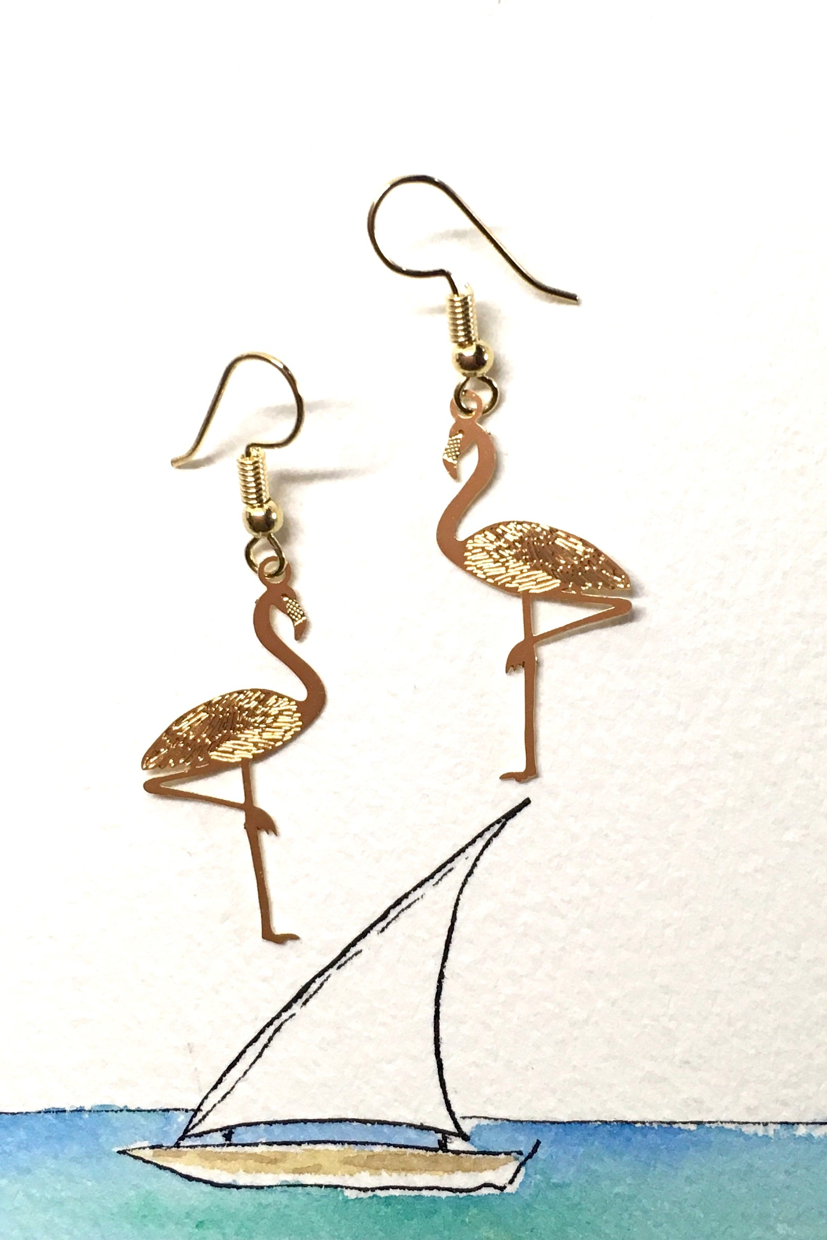 Earrings Fluttery Flamingo Gold Tone