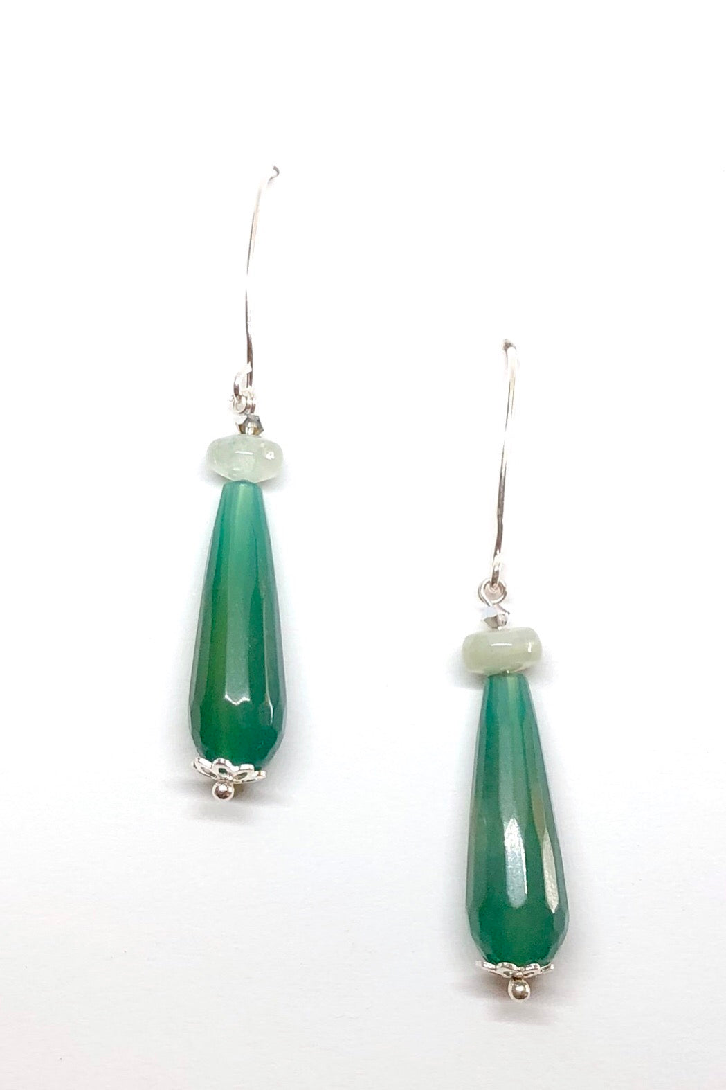 Earrings Rock Droplet Green Agate