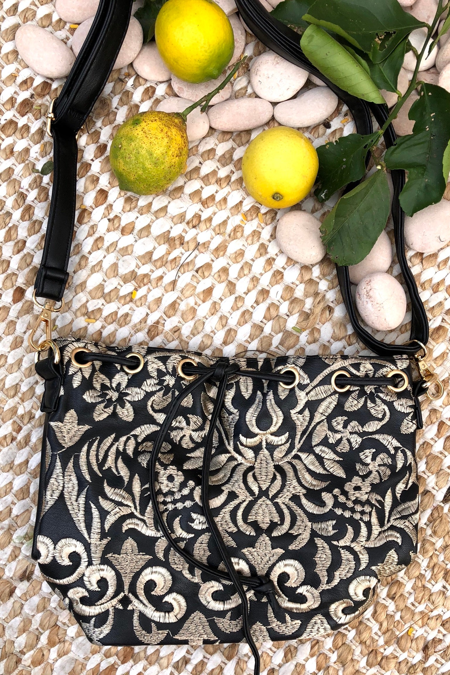 Yeah Bag Boho Embroidery in Black