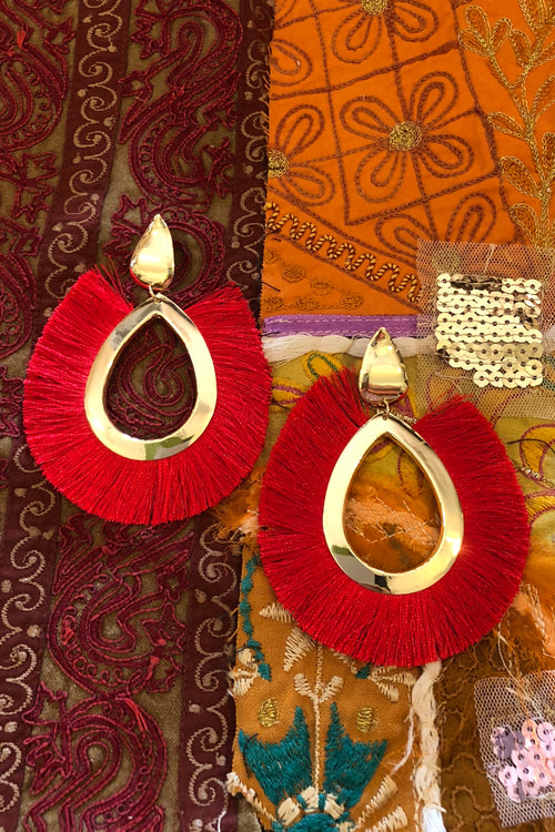 Earrings Tassel Wild Scarlet