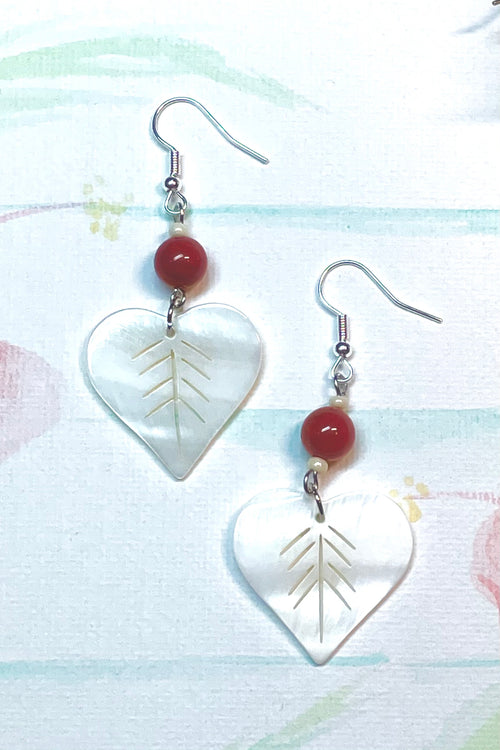 Earrings Serendipity Shell Heart Red