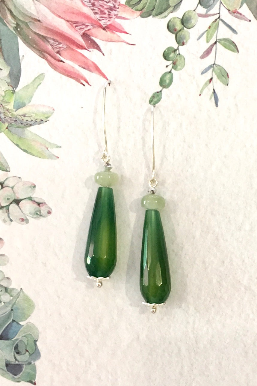 Women's jewellery. Green agate moonstone crystal drop earrings, drop style  bohemian and gypsy inspired sea blue stones in a teardrop shape. 925 silver hook. Great for everyday, night out, event, occasion. Beautiful gift and accessory. Lightweight. Designed in Brisbane Australia.