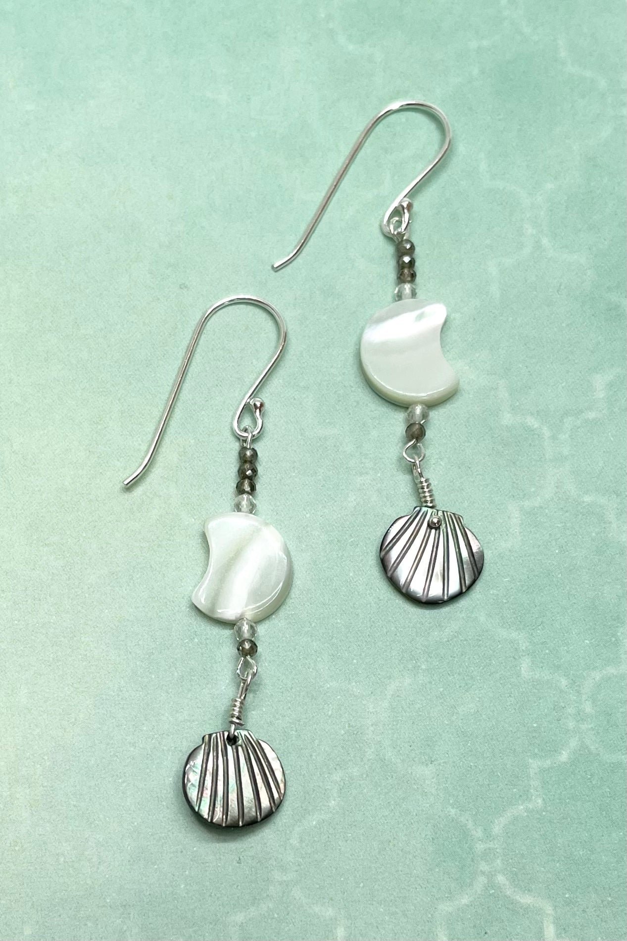 delicate Earrings Serendipity Mother of Pearl Silvery Moon take feminine energy to a new level.