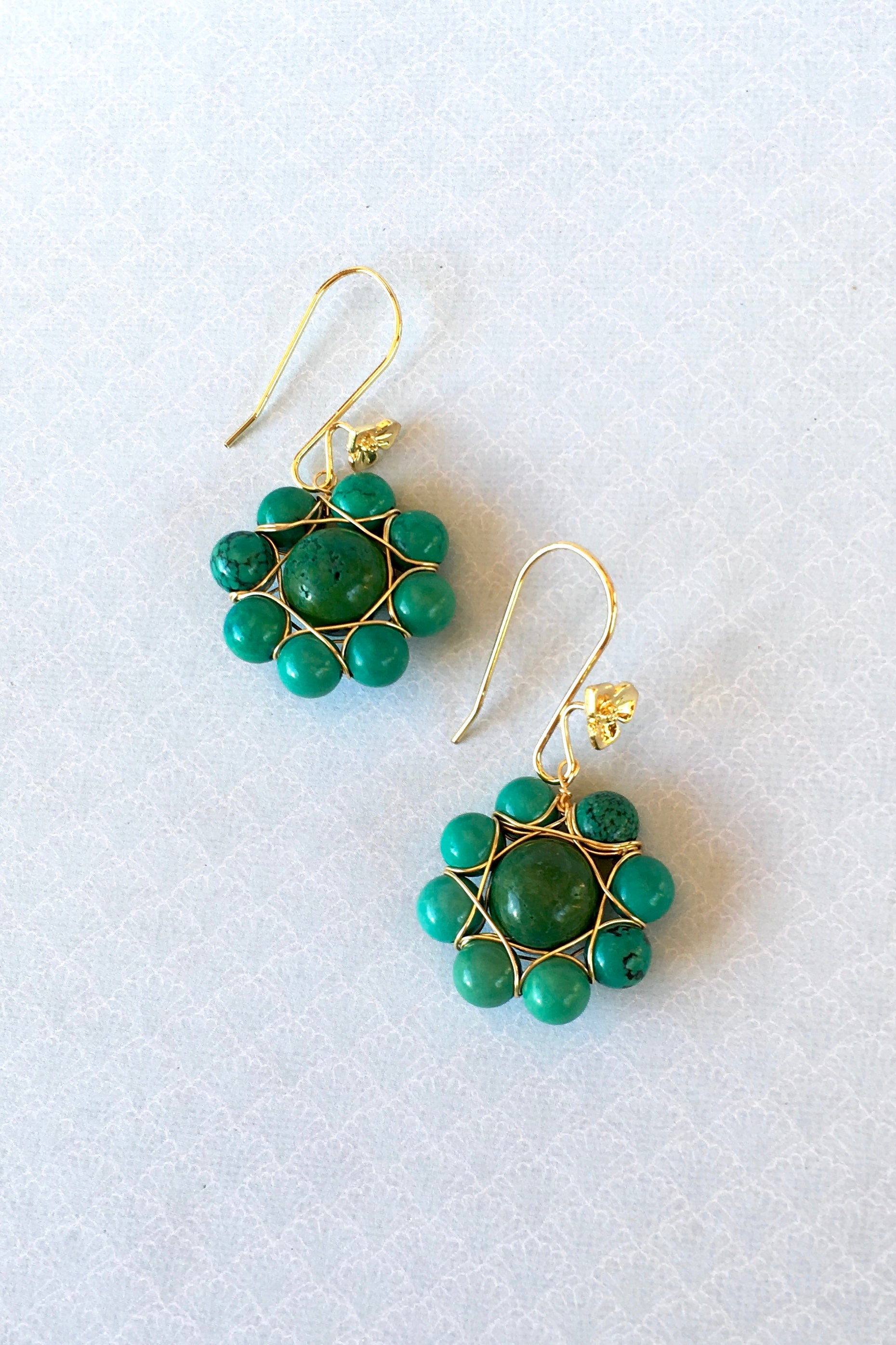 Earrings Greco Turquoise Bead Flower