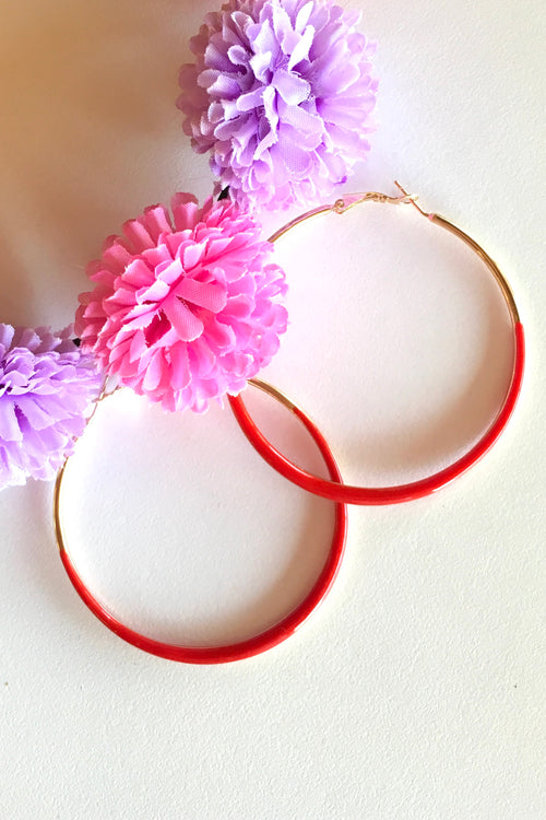 Earring Hoop Red Medium