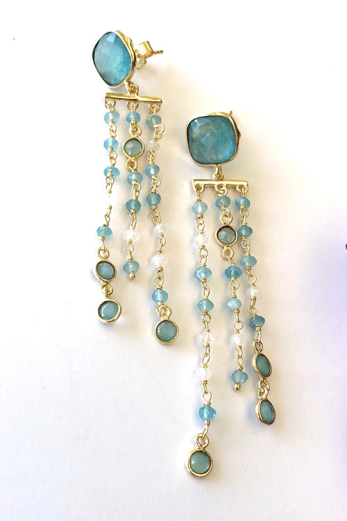 Oracle Earrings Golden Blue Quartz Tassels