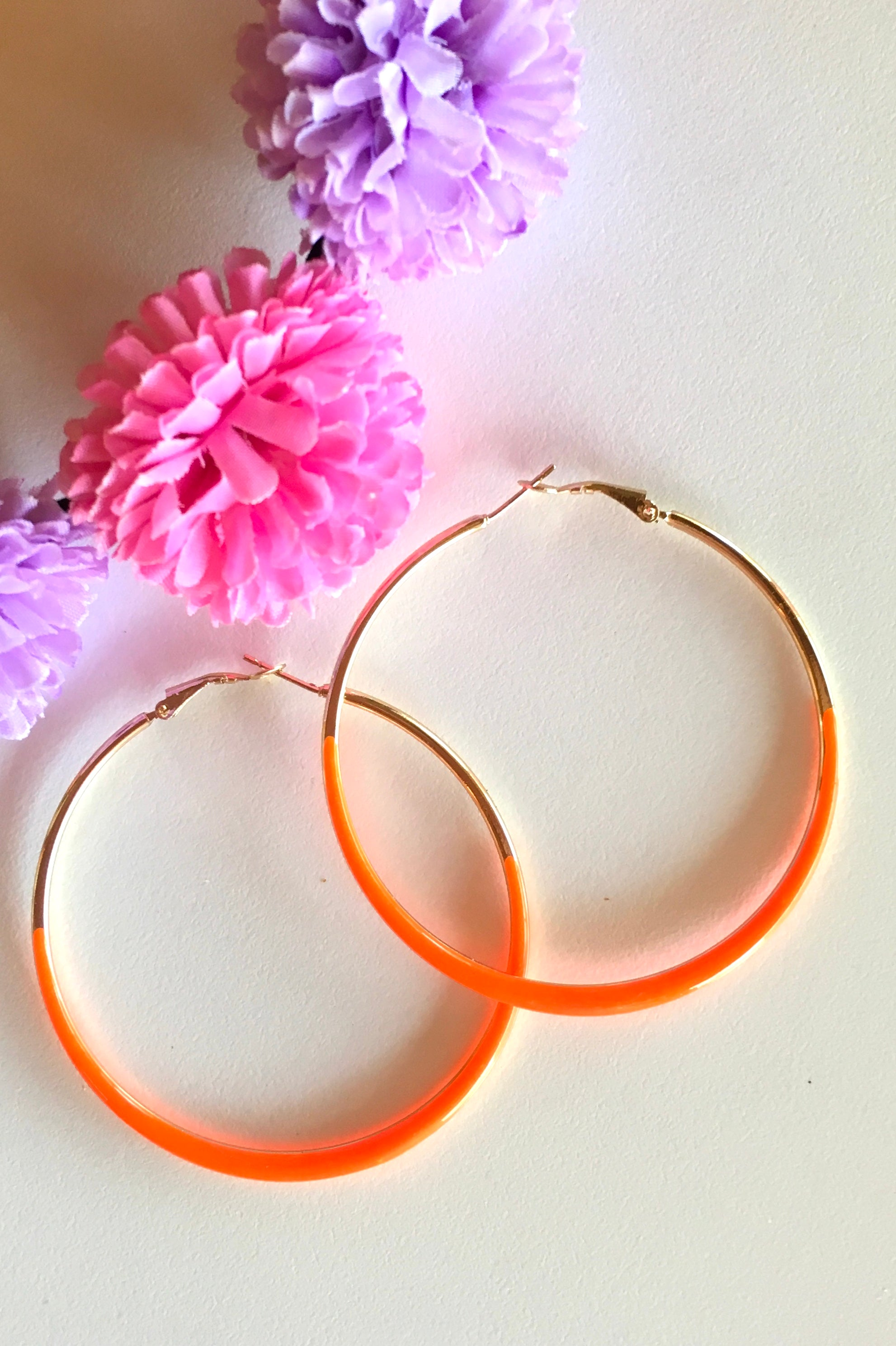 Earring Hoop Orange Medium