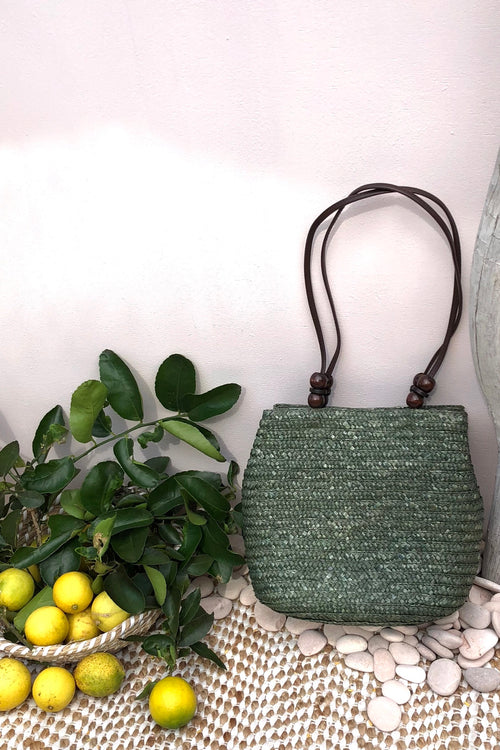 Bag Ava Palma Straw in Green