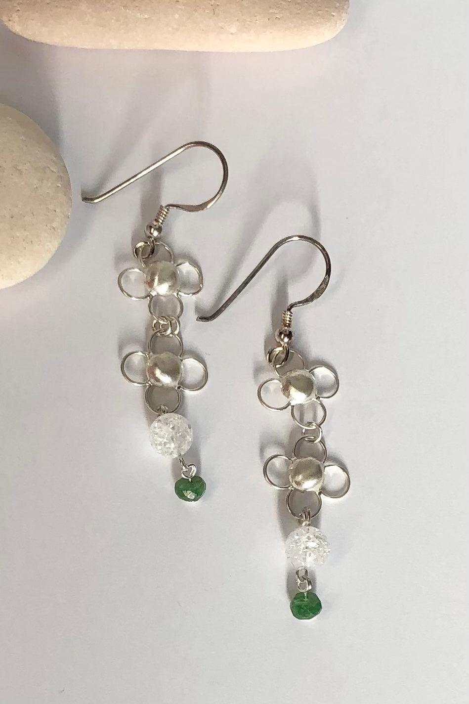 Earrings Pemba Silver Chainmaille Quartz