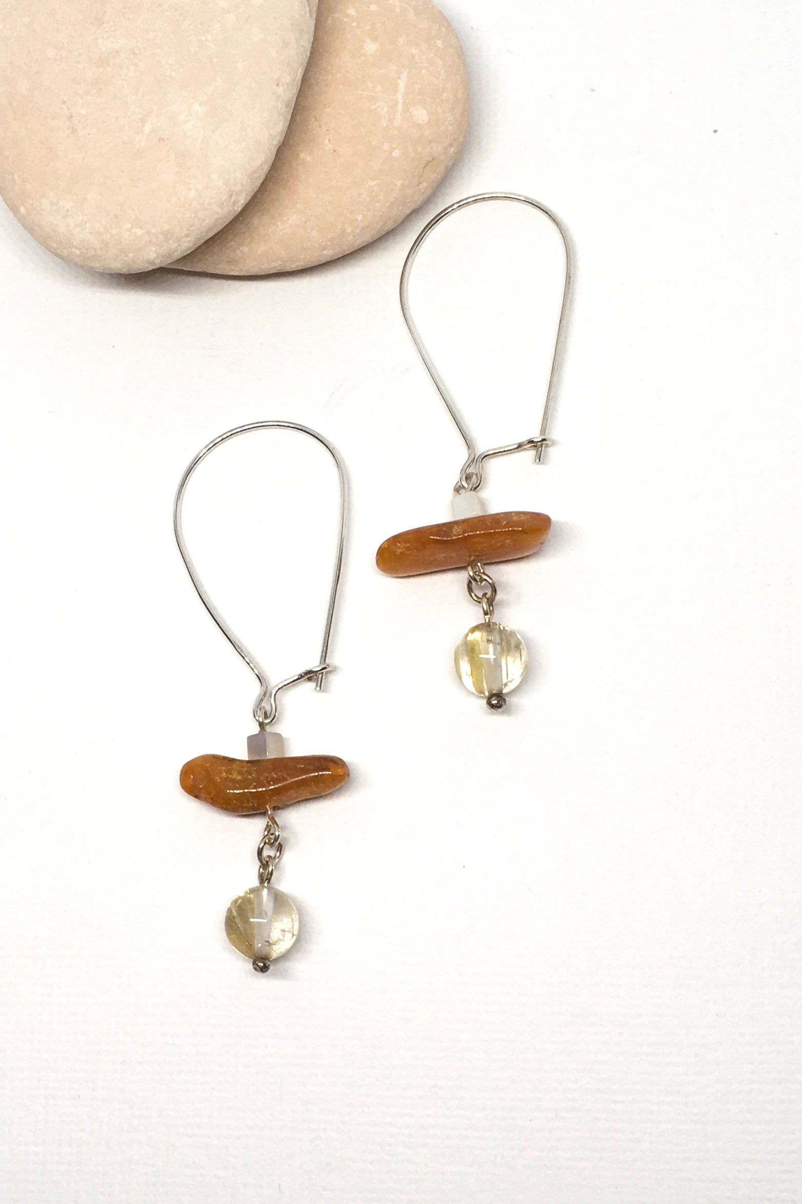 Earrings Samara Amber and Silver with golden Rutile Bead.