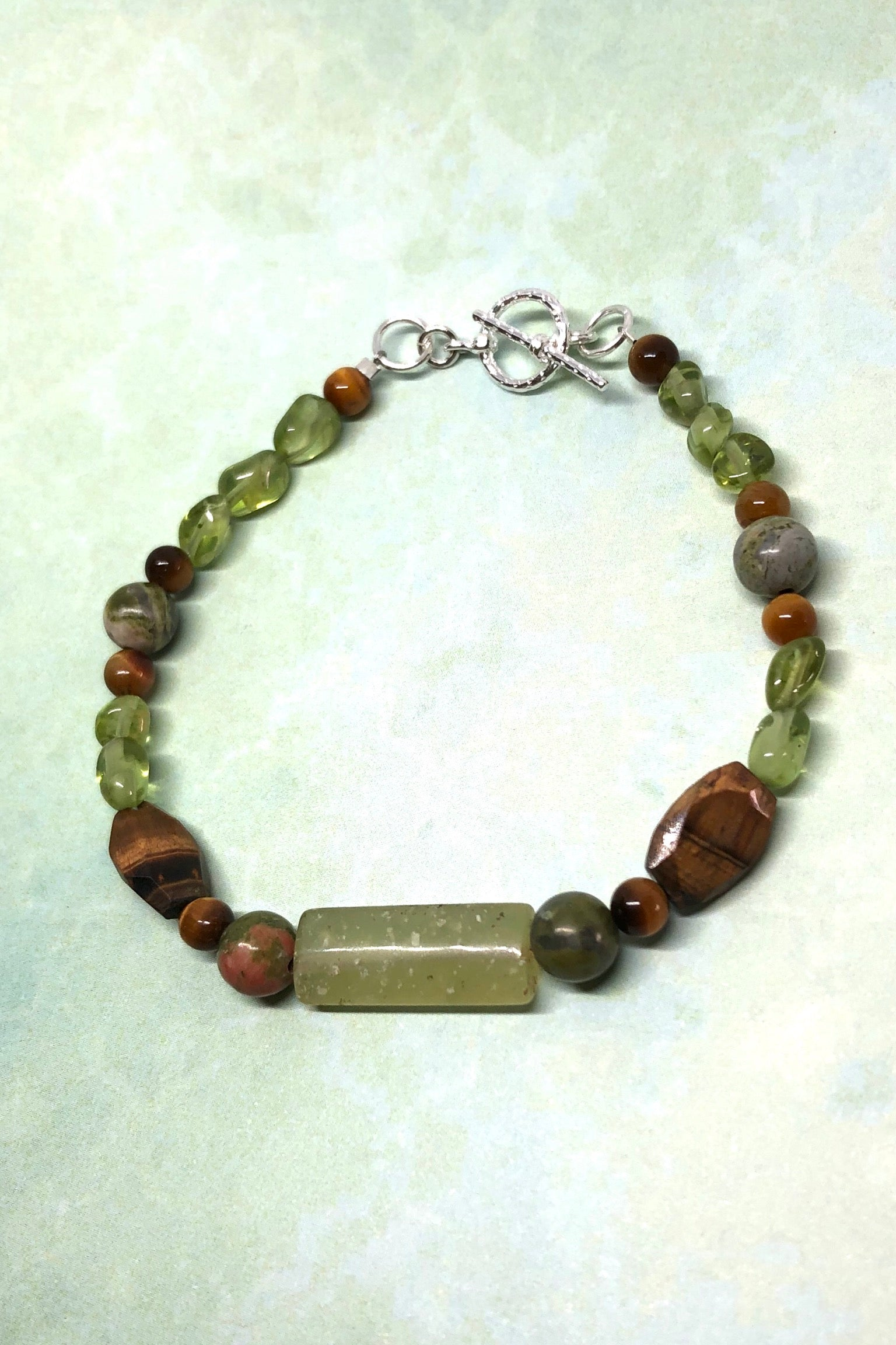 ethereal Bracelet Cay Earth Natural Gemstone inspired by the greens of the Australian bushland