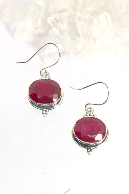 Oracle Earring Orb Rubyish in Silver