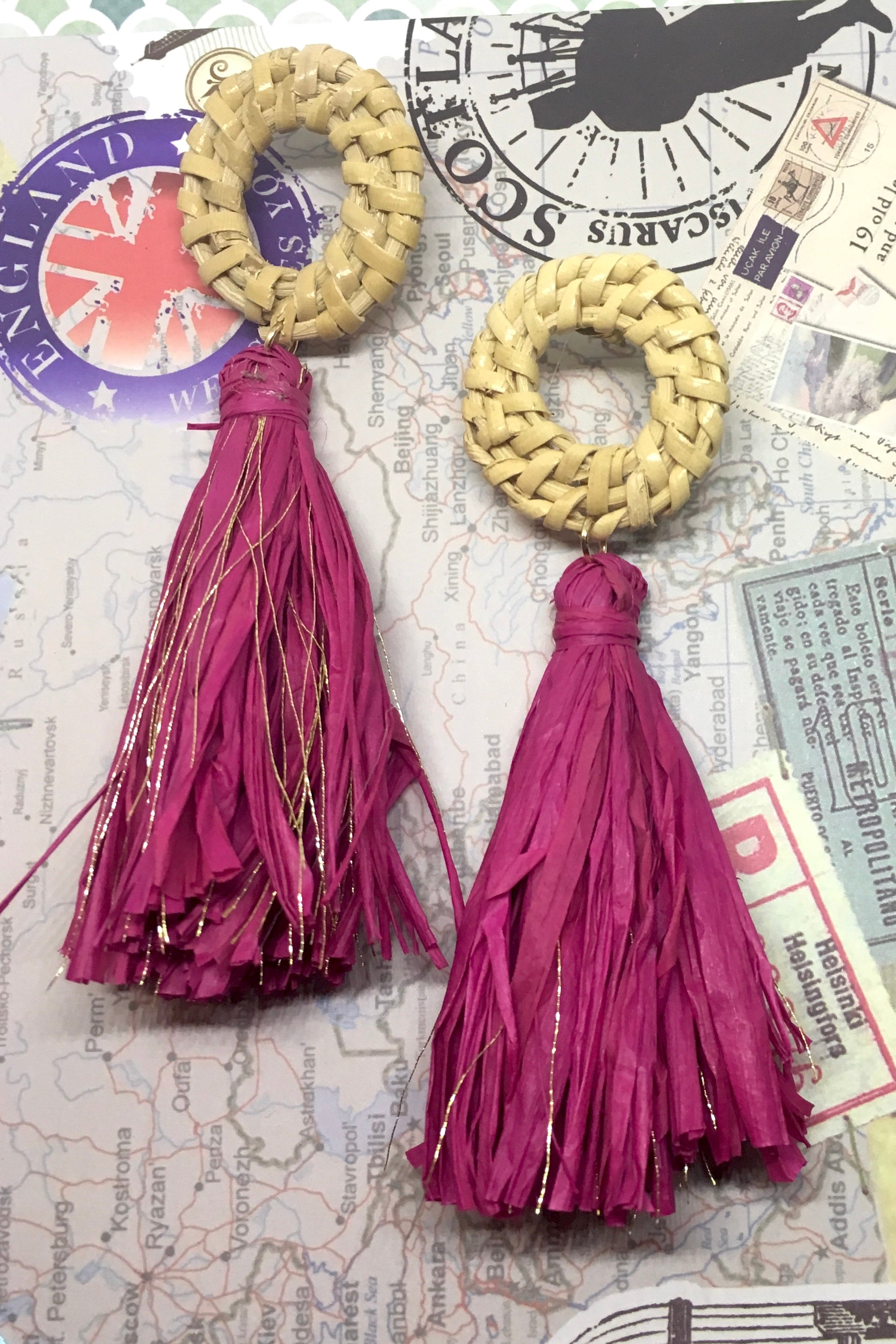 Earrings Rattan Tassel Cerise Sparkle