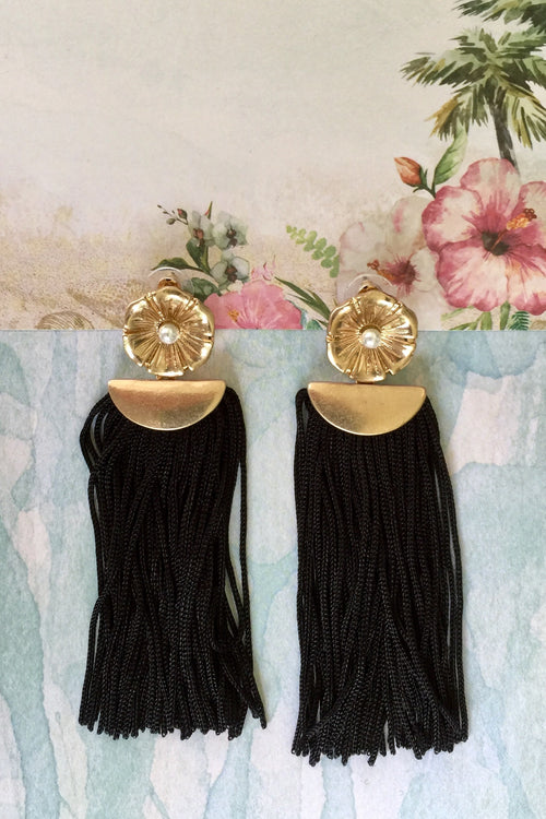 Earrings Anna Fleur in Noir