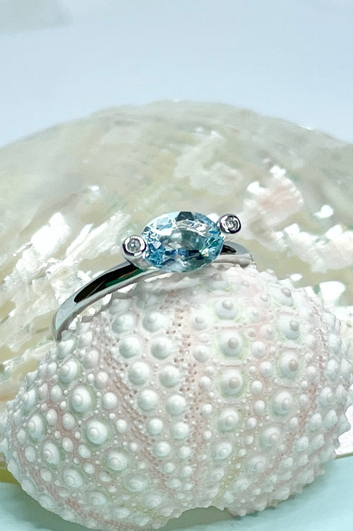 Ring Marquise Cut Aquamarine and Diamond Silver