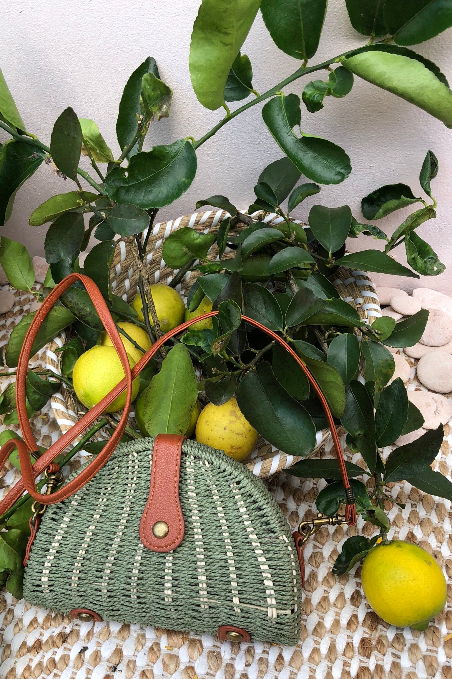 Bag Ava Suzie Woven straw bag in sage green is a retro inspired vintage look bohemian straw bag with long handle