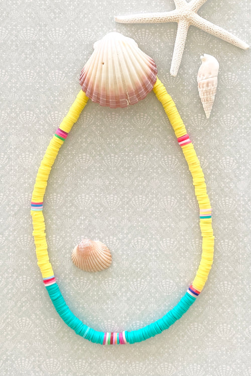 Necklace Summer Heishi Yellow and Teal