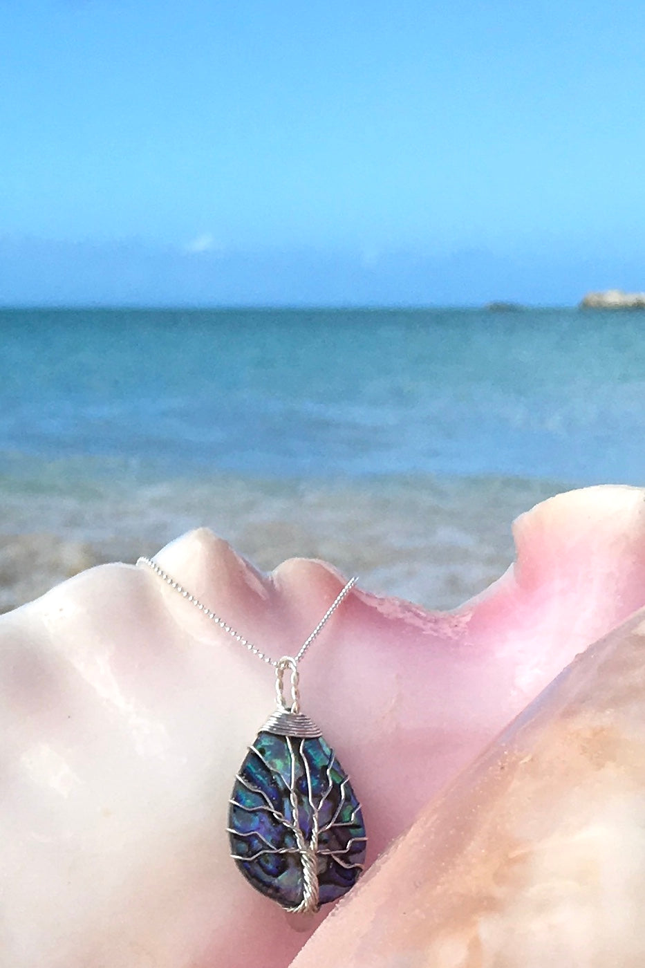 Pendant Tree of Life on Paua Shell, Abalone shell pendant necklace