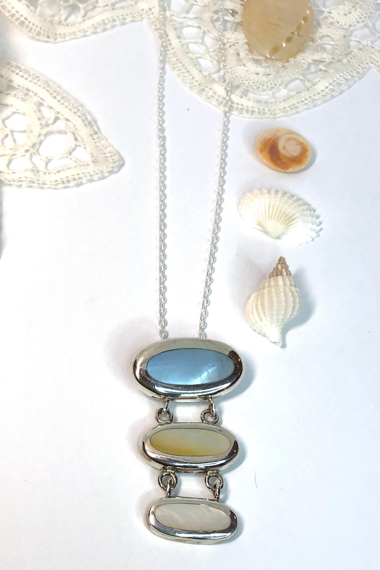 Echo Pendant Pearly Pastels Three is a hand made pendant with three linked ovals of pastel coloured Mother of Pearl on a silver chain.