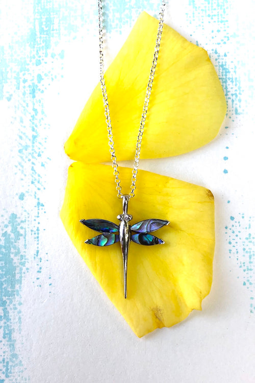 Oracle Pendant Dragonfly in Paua Shell and 925 Silver