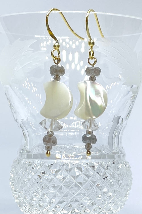 Earrings Serendipity Mother of Pearl Golden Moon with Herkimer Diamond