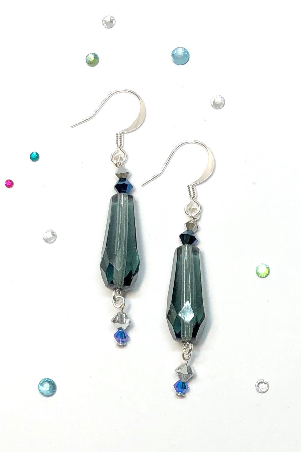The Earrings Jet Stream Blue are the chic and sharp choice for summer featuring approximately 5.4 cm length, drop style earrings,925 plate silver hook earrings.