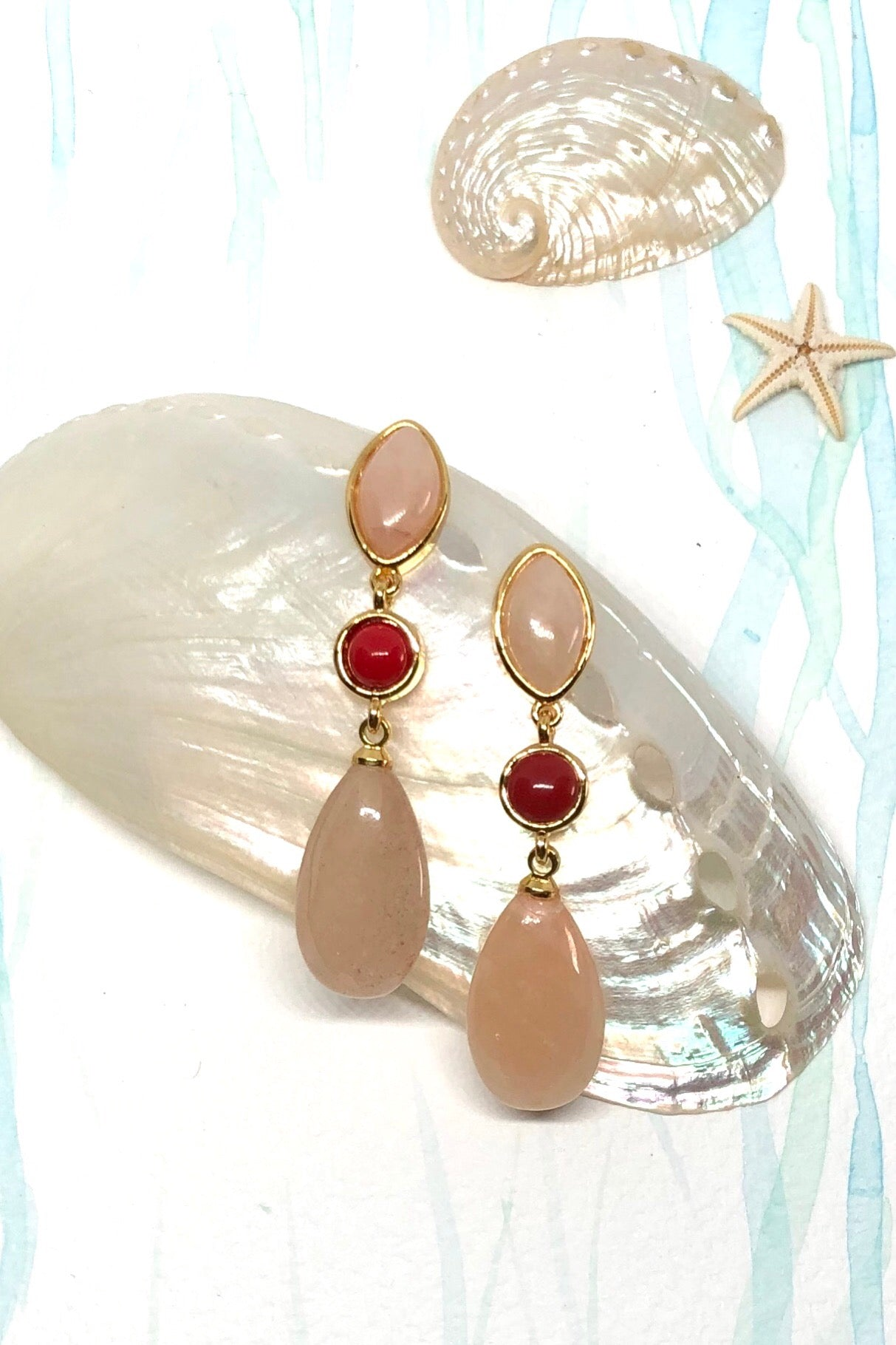 pink Onyx earrings drop style