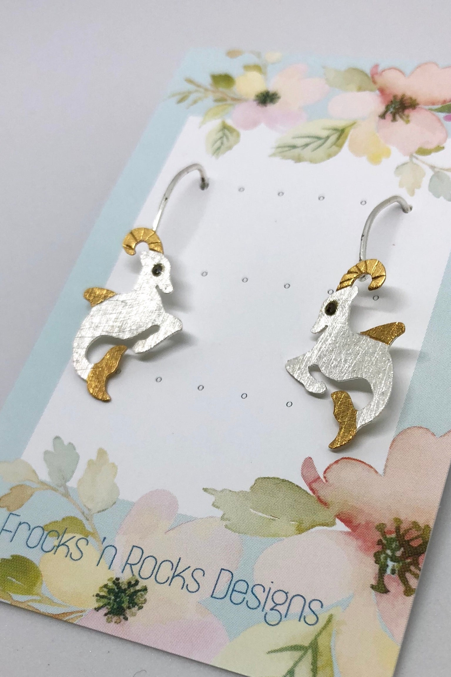 Earrings Silver Mythical Mermaid Goat