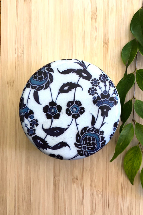 Olive Soap in a Turkish Tile Tin, Blue Floral Design