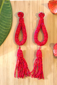 Earrings Rani Seeds Red