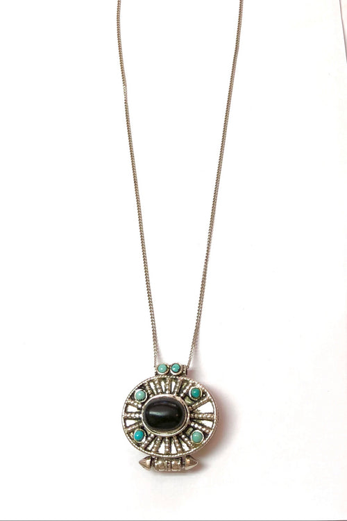 Echo Box Pendant Silver with Turquoise and Jet