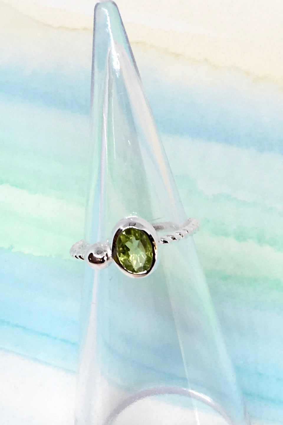 Oracle Ring Sea in 925 Silver with Green Peridot Stone