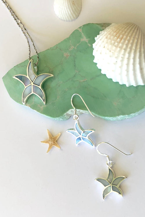 Oracle Silver Seas Earrings Starfish Inlay