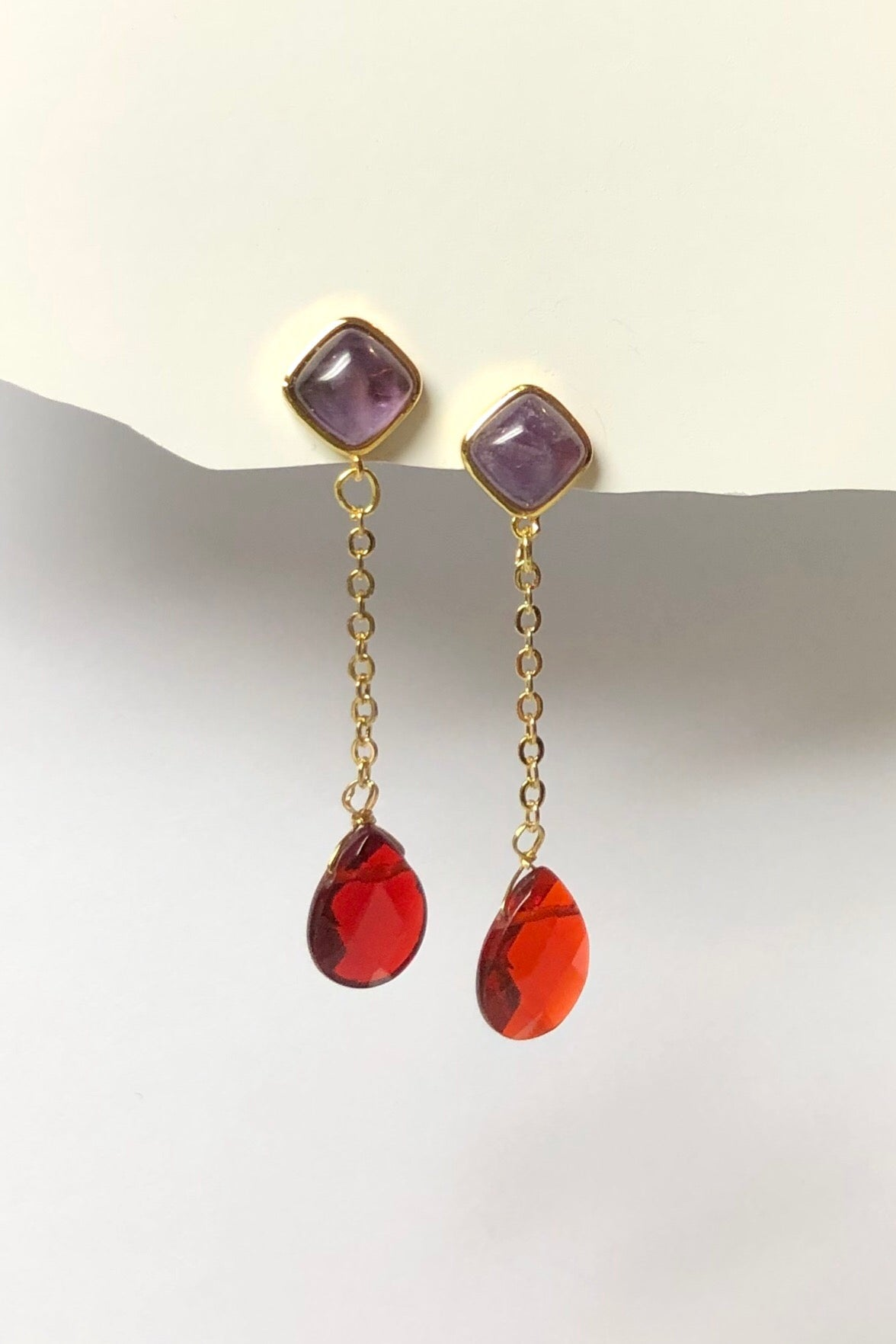 Earrings Serendipity Amethyst Drop are made from natural  Quartz stone, These sweet stunners have real Amethyst accents
