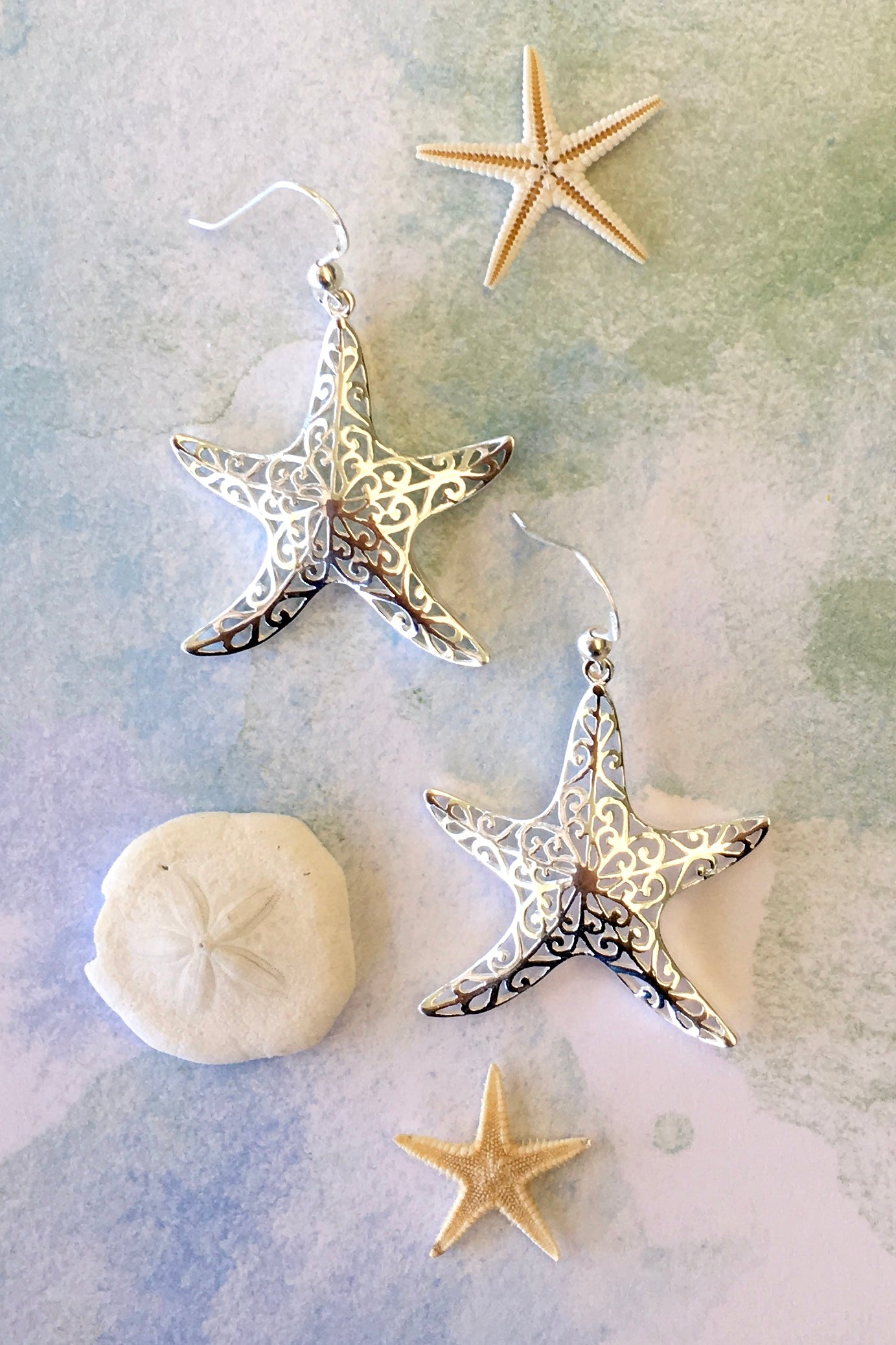 Earrings Cay Star Fish in 925 Silver, earrings in the shape of a silver starfish.