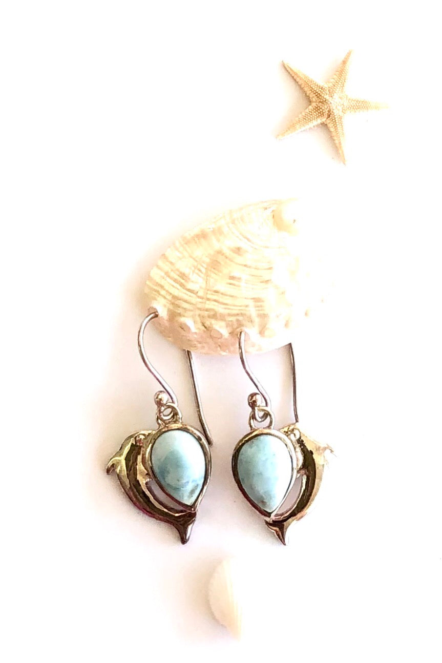 silver earrings with Larimar stone and a Dolphin